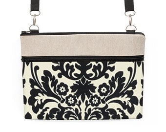 """13"""" Laptop Zipper Case, 11"""" MacBook padded sleeve with straps, Macbook Air 13"""" Travel Bag -  black and cream floral damask"""