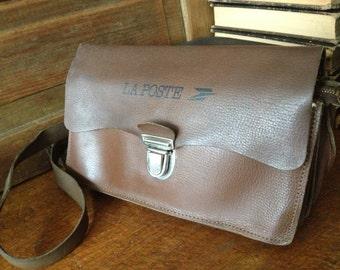 Vintage French La Poste Leather Crossbody Messenger Satchel