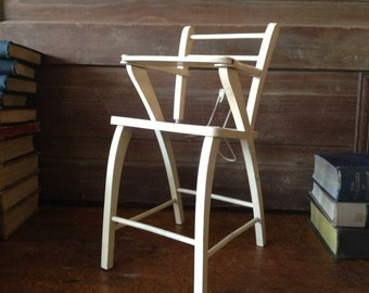 Antique Vintage Wooden Baby Doll High Chair