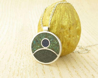 Sterling Silver pendant Round Colorful Natural Stones and Glass- Brand New Art Jewelry- Unique Handmade Special Christmas Gift