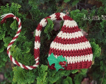 Christmas Elf hat with felt holly Newborn long tail hat photo prop-Red and off white stripes- Made to Order Christmas prop