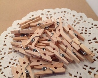 Clothespins / 50 Mini Natural Wooden Clothespins / Small Natural Clothespins