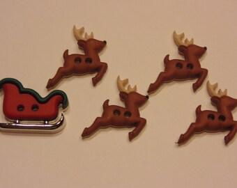 5 piece Reindeer and Sleigh button set, 15-22 mm (B5)