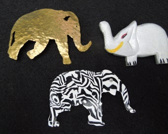 Vintage Brooch Collection.  Elephants.  Brass, Wood, Plastic.  Lot of 3