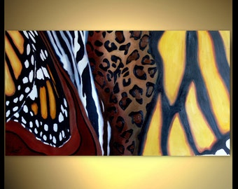 Huge Abstract Painting - XXL Zebra Leopard Butterfly 50 x 28 - Oil Impasto Contemporary Art - Animals Brown Yellow Red Ocher Black White