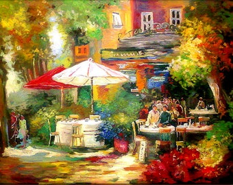 Landscape Painting - Oil Palette Knife - Mediterranean Cafe - Figurative - Flowers - Umbrellas - Colorful Made To Order