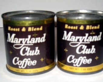 Maryland Club Coffee, small 1.55 ozs metal cans, Coffee still inside, Coca Cola Company product. Houston Tx, Unopen Maryland Club Coffee