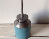 Vintage Oil Can Blue Automobile Collectible