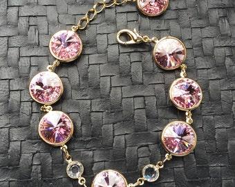 Swarovski Crystal Bracelet (Light Rose)