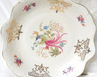 vintage serving bowl german porcelain floral serving bowl exotic bird serving dish Hutschenreuther bird of paradise