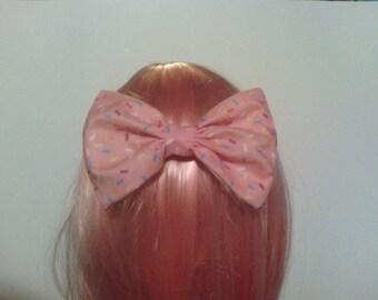 Rainbow Sprinkle Doughnut Hair Bow Barrette