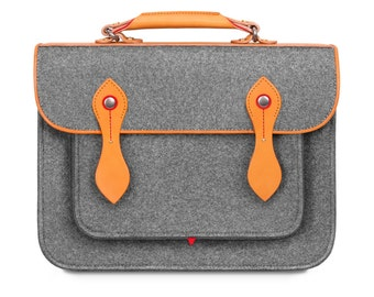 "Macbook Pro 15"" Bag Wool Felt Macbook Sleeve with Genuine Leather Handle And Strap Briefcase Felt Sleeve for Macbook Pro 15"""