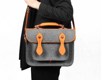 Macbook Satchel Laptop Bag Shoulder Bag Briefcase Wool Felt Messenger Bag School Backpack with Genuine Leather Handle for Macbook Pro 13''