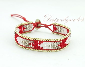 Red and white japan beads wrap bracelet.