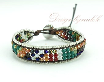 Multi crystal box chain wrap bracelet