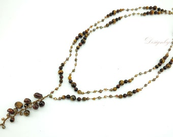 Brown tiger eye,crystal on silk thread necklace.
