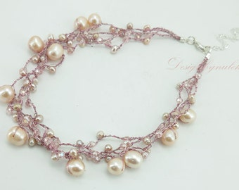 Pink freshwater pearl,crystal necklace.