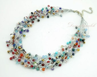 Multi color stone on silk necklace.