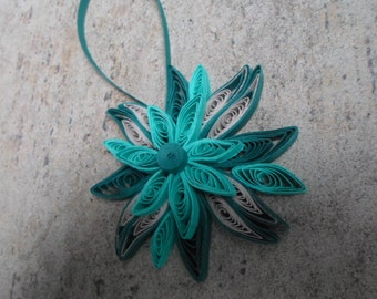 Teal Christmas tree ornament Paper flower decoration Holidays decor