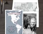 The Americas South America North America bilingual wedding invitation - Two Countries Destination wedding Save the Date Postcard Design fee
