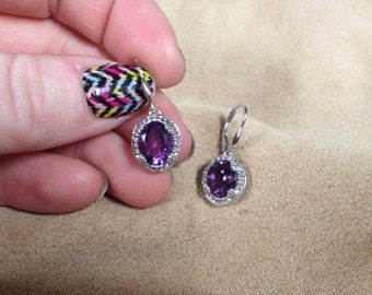 Vintage 925 Sterling Silver with Purple Gemstone Center Dangle Earrings