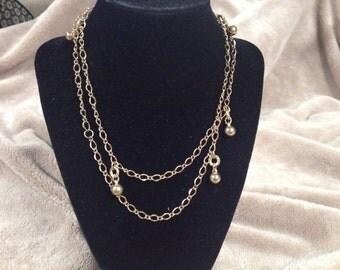 Vintage Goldtone Ball Design Necklace, Length 30''