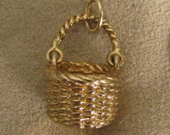 Vintage Sterling silver Brown County Indiana Basket Charm #5 Gold over Silver