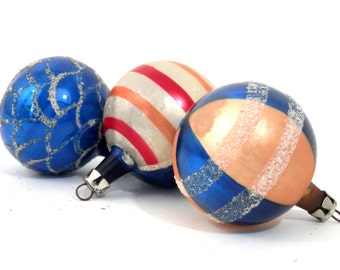 Antique Christmas Ornaments Cobalt Blue Orange Stripes and Glitter