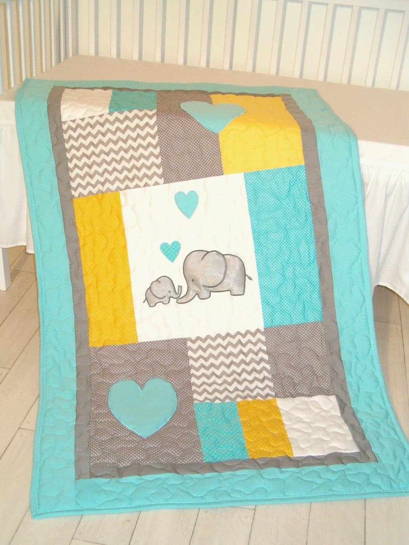 Elephant Blanket Elephant Quilt Blanket Aqua Gray Chevron