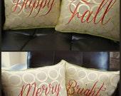Set of 2 Reversible Burlap Fall/Christmas Burlap Pillow Covers