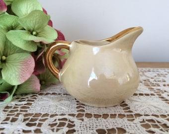 Vintage Lustreware Creamer with Gold Trim, Iridescent Finish UNMARKED