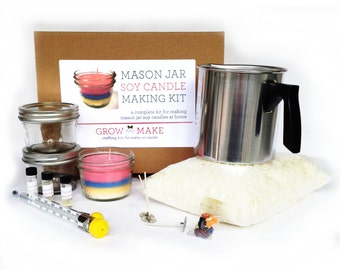 DIY Deluxe Large Mason Jar Soy Candle Kit