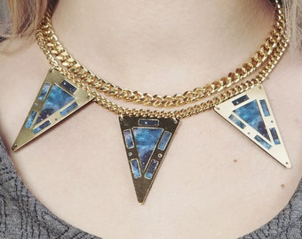 """Necklace three triangles and printed leather galaxy """"Supernova"""""""