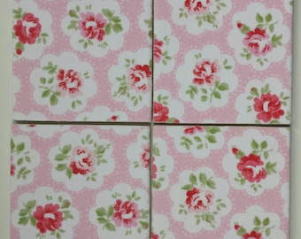 Ceramic Coasters in Cath Kidston Pink Provence Rose