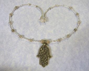 Moroccan Berber Silver Floral Hamsa Pendant and Necklace