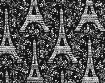 Michael Miller fabric EIFFEL TOWER on Black