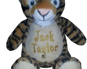 Baby Gift, Tiger Personalized stuffed animal, toddler present, birth announcement