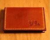 Personalized  Leather Business Card Holder / Card Case, Tan