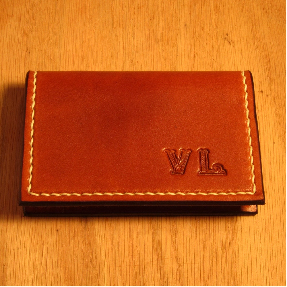 Personalized leather business card holder by for Monogrammed leather business card holder