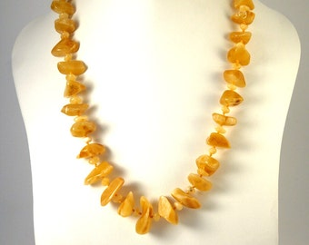 Exclusive Baltic Amber Necklace Butterscotch color Mixed Beads 52 cm 20 inches
