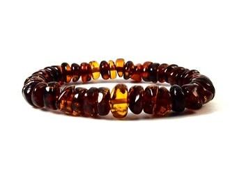 Fine Baltic Amber Bracelet Cognac color Button Shape Beads 16 cm 6 inches Stretchy