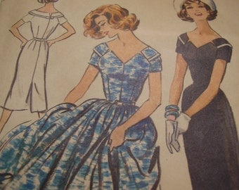 Vintage 1950's McCall's 4562 Dress Sewing Pattern, Size 18, Bust 38