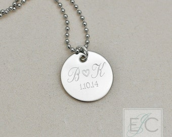 "two initials with heart engraved necklace, .625"" pendant"