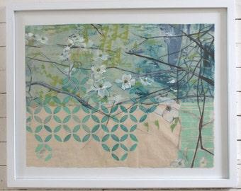 Japanese Dogwood in Aqua-- original art in frame