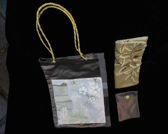 Silk Bag, Coin Purse, and Wallet Set