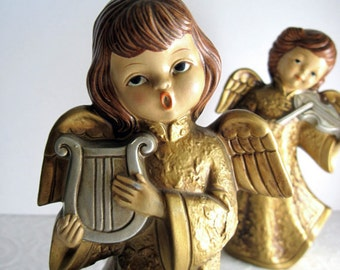 Vintage Angels, Collectible Figurines, Christmas Decor, Vintage Christmas, Angels Collection, Choir Angel, Cherubs, Gold Christmas