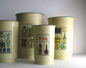 Kitchen Canisters, Retro Canister Set, Plastic Kitchen Canisters, Avocado Green, Yellow Canisters, Retro Kitchen, Round Canisters