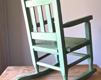 Kids Vintage Rocking Chair, Vintage Kids, Antique Rocker, Vintage Baby Furniture, Green Rocking Chair, Vintage Furniture Online