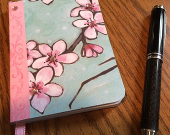 Cherry Blossom Mini Journal, notebook with ribbon bookmark