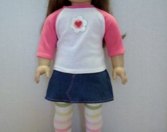 Denim Skirt, top, leggings fits American girl 18 inch doll clothes